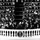 Poet Robert Frost Reading a Poem at the Inaugural Ceremony for President John F. Kennedy Photographic Print