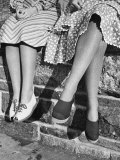 Women Showing Off Current Shoe and Textured Hosiery Fashions Premium Photographic Print by Alfred Eisenstaedt
