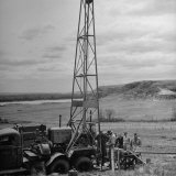 Men Working on Core Drilling Operations at Garrison Dam in the Missouri Valley Photographic Print