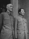 Chinese General Chiang Kai Shek Standing Side by Side W. Communist Ldr. Mao Tse Tung Premium Photographic Print
