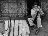 "Film Director John Huston, Playing with Rifles During the Making of the Movie ""The African Queen"" Premium Photographic Print"