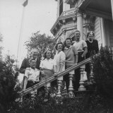 Ca Gov. Earl Warren Posing on Steps of House with Wife and Five Children Photographic Print