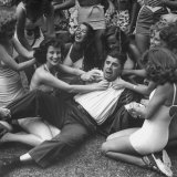 Contest Judge Ken Murray Being Wrestled to the Ground by Contestants in Beauty Pageant Photographic Print by Peter Stackpole
