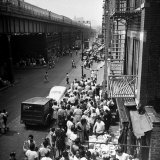 Upper Park Ave. W. Sidewalk Bustling W. Street Vendors and Shoppers, Spanish Harlem Photographic Print