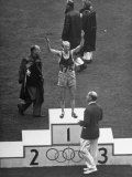 Gaston Reiff of Belgium Standing on First Place Winner's Block for 5,000-Meter Sprint Premium Photographic Print
