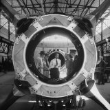 Germaqn Scientist Wernher Von Braun Examining a Jet Engine Photographic Print