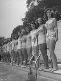California and Florida Bathing Beauties Participating in a Contest Premium Photographic Print by Peter Stackpole