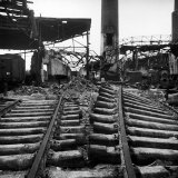 Bomb-Damaged Railroad Tracks after Allied Air Attacks on the Devastated City Photographic Print by Margaret Bourke-White