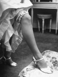 Bride Barbara Alvin Wearing a Blue Garter on Her Leg for Her Wedding Premium Photographic Print by Nina Leen