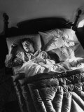 Man Snoring to the Point That His Wife Cannot Even Sleep in the Same Bed Any More Premium Photographic Print