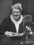 Radio Personality Mary Margaret Mcbride Broadcasting Her Show on Nbc Radio Premium Photographic Print by Alfred Eisenstaedt