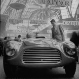 Front View of New Model Ferrari Being Shown During Automobile Exhibit Photographic Print by Yale Joel