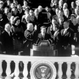 President Joh F. Kennedy Being Sworn in at the Inaugural Ceremony Photographic Print