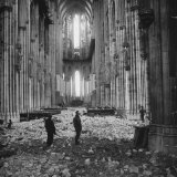 Interior View of a Damaged Cologne Cathedral Photographic Print
