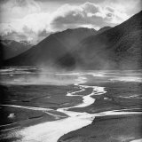 Dust Rising Up from Bed of the Waimakariri River Photographic Print