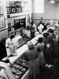 Shoppers at Butcher Counter in A&P Grocery Store Photographic Print by Alfred Eisenstaedt
