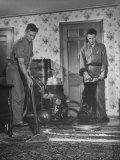 Men from Westchester Housecleaning Service Vacuming in Upper Middle-Class House Premium Photographic Print