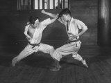 Japanese Karate Students Demonstrating Fighting Premium Photographic Print