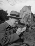 Britain's Prime Minister Winston Churchill Lighting a Cigar Photographic Print