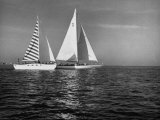 Overtaking a Conventional Sailboat, the Catamaran Is Displaying its Speed Premium Photographic Print by Loomis Dean