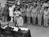 General MacArthur Watching Japanese Official Mamoru Shigemitsu Officially Surrender, USS Missouri Premium Photographic Print by J. R. Eyerman