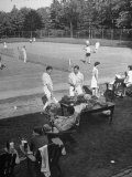 Suburbanites at Tennis Court Premium Photographic Print by Alfred Eisenstaedt