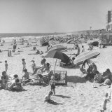 Sun Bathers at Hermosa Beach Photographic Print