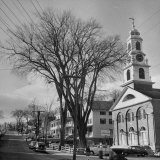 Main Street in Small New England Town, Showing Church, Stores, Etc Photographic Print by Yale Joel