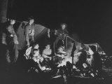 Explorer Boy Scouts, Post 28, Gathered around Campfire at Night with Troop Leaders Premium Photographic Print