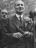 Next Prime Minister Clement Attlee, Greeting Newsreel Personnel Photographic Print by Bob Landry