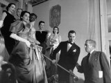 Designer Charles James, Standing on Steps with Models Who are Wearing Dresses from His Collection Premium Photographic Print