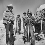 Indian Miners Talking to Trader Harry Goulder Who Helped Discover Ore Photographic Print by Loomis Dean
