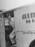 Veteran Working as a Grocery Clerk, Driving His Milk Truck Premium Photographic Print by Peter Stackpole