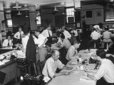 Reporters and Editors Busy Working in the Newsroom at the Kansas City Star Newspaper Premium Photographic Print by Alfred Eisenstaedt