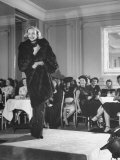 Woman Modelling a Mink Coat at the Fashion Show Premium Photographic Print by Bob Landry