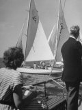 Men Lining their Sailboats Up at the Start Line at the Seawanhaka Yacht Club Premium Photographic Print by Nina Leen