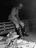 Soldier Guarding a Pile of Sealed Ballot Bags Premium Photographic Print