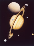 Montage of Saturn and Satellites Taken by Voyager 1 and 2, Titan Iapetus and Tethys Mimas and Rhea Photographic Print