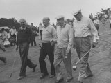 President Dwight D. Eisenhower Walking on Golf Course with Others Premium Photographic Print by Ed Clark