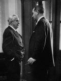 Sen. Lyndon B. Johnson Talking with Patrick Mccarran in the Capitol Premium Photographic Print