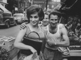 Actress Gina Lollobrigida Talking with Vegetable Vendors Premium Photographic Print by Peter Stackpole