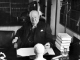 Sir Winston Churchill, Sitting Behind Desk at Chartwell Premium Photographic Print