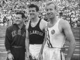 Track Stars, Rod Richards, Don Laz and Don Bragg Attending A.A.U. Track Meet Premium Photographic Print