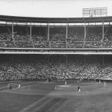 Large Crowd of People Watching the Action of Dodger-Cubs Game Fat Wrigley Field Photographic Print by John Dominis