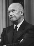 US Pres. Dwight D. Eisenhower Holding a Press Conference Premium Photographic Print