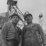 Hard Rock Miner Darrell White Standing with Partner Taking a Breather Photographic Print by J. R. Eyerman