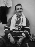 Canadian Goalie, Jacques Plante in Locker Room During Game Premium Photographic Print