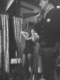 """Actress Angie Dickinson During Dress Rehearsal of """"Rio Bravo"""" with Actor John Wayne Premium Photographic Print by Allan Grant"""