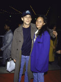 Actor Christian Slater and Friend Nina Peterson Premium-Fotodruck