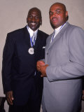Basketball Players Michael Jordan and Charles Barkley at Great Sports Legend Dinner Premium Photographic Print by Sylvain Gaboury